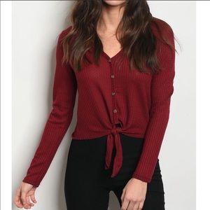 Tops - Burgundy red long sleeve button down blouse